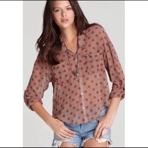 Free People Easy Rider Polka Dot Top Size XS
